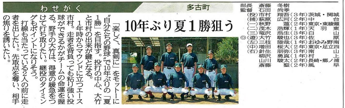 硬式野球部千葉日報
